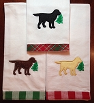 Christmas Tree Labrador Kitchen Towel