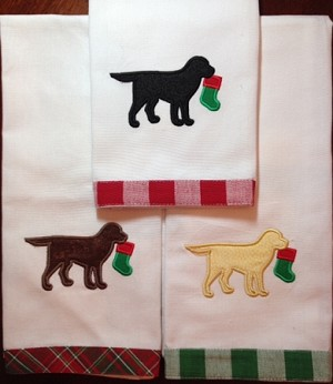 Christmas Stocking Labrador Kitchen Towel